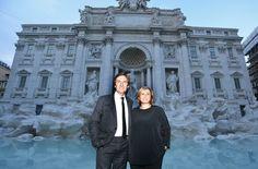 Pietro Beccari and Silvia Venturini Fendi at the Trevi Fountain inauguration for the Fendi for Fountains project