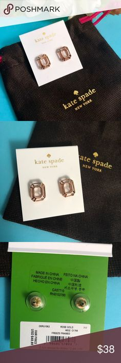 """Kate Spade """"Freeze Framed"""" Rose Gold Earrings Kate Spade """"Freeze Framed"""" Rose Gold Earrings  Brand new on original card with stickers attached Includes Kate Spade jewelry bag kate spade Jewelry Earrings"""