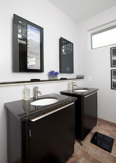 smart home-interior design-marble washbasin-flat internet tv-tv-bathroom design-interior bathroom Smart Home Technology, Home Automation, My Dream Home, Luxury Homes, Home Improvement, Sweet Home, House Design, Interior Design, Cool Stuff