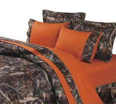 Blaze Orange Camouflage Reversible Sheet Sets and Camo Bedding