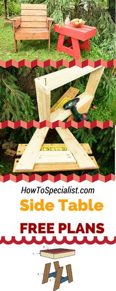Free plans for you to build a modern outdoor side table! Step by step instructions for you to learn how to build a wood patio side table with a modern design! howtospecialist.com #diy #table