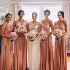Reminiscing this beautiful bridal party that we just love 😍 @sarah_tilse and her Goddess By Nature girls in the amazing dust me pink signature ballgowns 💖 www.goddessbynature.com