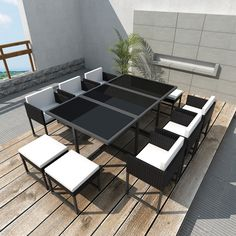 cube rattan garden furniture set - 21 pcs - table chairs sofa set, Terrassen ideen
