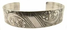 Victorian Style Sterling Silver Floral Engraved Cuff Bracelet Janeliunas Jewelry. $154.99