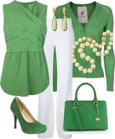 White and green work outfit