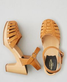 AEO Swedish Hasbeens Snake Sandals, Women's, Size: 39 (US 8), Beige