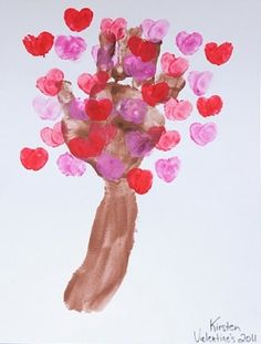 Love blossom tree using hand/arm and fingers. Cute for kids! by joanne