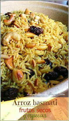 The world of Carely: Basmati rice with nuts and spices - The world of Carely: Basmati rice with nuts and spices - Vegetarian Recipes Easy, Rice Recipes, Asian Recipes, Mexican Food Recipes, Cooking Recipes, Healthy Recipes, Ethnic Recipes, Comida India, Cauliflower Recipes