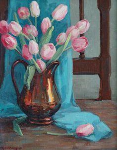ღღ Myra Albert Wiggins    Tulips in Luster Pitcher    20th century