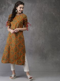 Kurta designs women - Anouk Orange Printed Kurta for Women Salwar Designs, Printed Kurti Designs, Kurta Designs Women, Kurti Designs Party Wear, Blouse Designs, Simple Kurta Designs, Kurta Patterns, Salwar Pattern, Dress Patterns