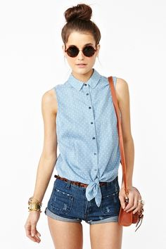 Chambray Tie Top  Summer is right around the corner!  $38