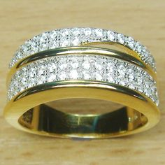 Four Rows Micro Setting White CZ 925 Sterling Silver Yellow Gold Plate Ring