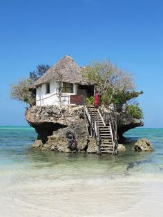 On this islet, near the shore of the beautiful Michanwi Pingwe beach (Zanzibar), is located a Rock Restaurant. The owners don't advertise the restaurant, and they don't put up signs pointing people to their joint. They just sit there and wait for people to find them. Naturally the restaurant serves a wide variety of sea food.