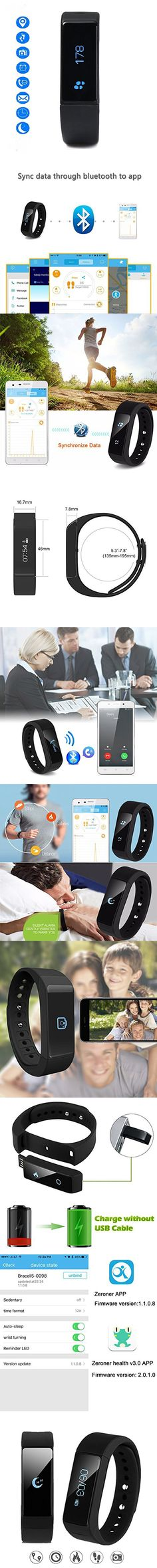 Activity Tracker, 007plus® I5 Plus Fitness Tracker Health Sleep Monitor Pedometer Wristband (Black)