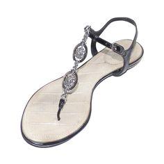 depot vente de luxe en ligne CHANEL sandales tongs en cuir verni noir - On sale eshop luxe www.tendanceshopping.com