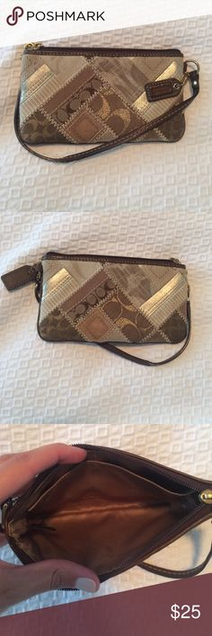 Gold patchwork Coach wristlet Super cute Coach wristlet in great condition. Can be dressed up or dressed down - very versatile! Please feel free to make an offer! Coach Bags Clutches & Wristlets