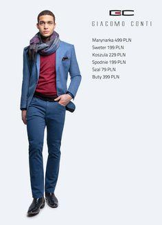Stylizacja Giacomo Conti: marynarka Antonio 14/71,koszula Michele 14/09/06, sweter Enrico 14/62 CS, spodnie Riccardo 14/49 K #giacomoconti