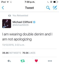@micheal5sos Mikey it's kind of a thing denim on denim I do it all the time but true no apologies!