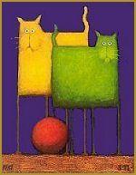 Double Trouble by Daniel Kessler I Love Cats, Cool Cats, Cat Doodle, Cat Quilt, Small Art, Elements Of Art, Fantastic Art, Cat Drawing, Dog Art