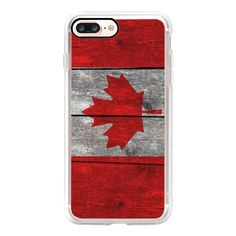 Canada flag on heavily textured woodgrain  - iPhone 7 Case, iPhone 7... (55 AUD) ❤ liked on Polyvore featuring accessories, tech accessories and android case
