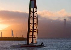 AC45 at sunset in San Francisco - Photo by: ACEA/Gilles Martin-Raget
