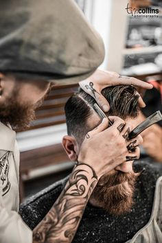 Would you look at that moustache and beard? Just for men - Salon Ambience Moustache, Beard No Mustache, Beard Love, Beard Tattoo, Tattoo Man, Hair And Beard Styles, Men's Grooming, Haircuts For Men, Men's Haircuts