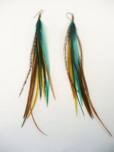 Ocean Long Feather Earrings