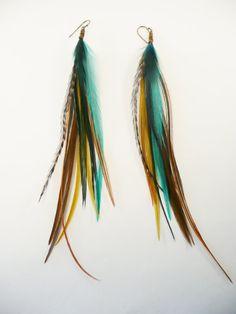 Ocean: Long Feather Earrings