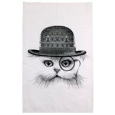 Rory Dobner Tea Towel Cat Hat | Kitchen Linens | Fortnum and Mason