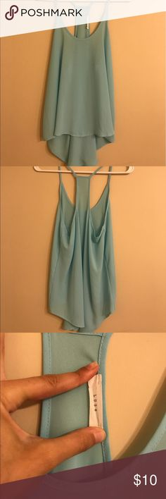 Nordstrom Top Sheer bright sea foam blue in color. Wore perfectly with a bandeau on a hot summer night. I also wore it over a swim suit. No stains. No tares. Is perfect for a size S or M. Has a loose fit. Nordstrom Tops