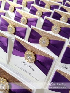 Purple Plum and Gold Wedding Stationery | The Cinderella Collection - Luxury Place Cards | Featuring champagne gold copper glitter paper, purple plum blackberry ribbon and gold diamante embellishment | Enchanting luxury handmade wedding invitations and stationery #byenchanting