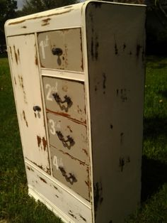 A vintage chifferobe painted, numbered distressed :)