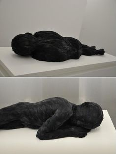 Lucy Glendinning's Feather Child 2. Wax and feather (pheasant and goose). Galerie Da-End, Paris.