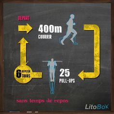 6 tours sans temps de repos de : courrir 400m, 25 pull-ups.