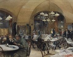 SuperStock - Austria, Vienna, Cafe Griensteidl, Vienna, 1896, watercolor painting