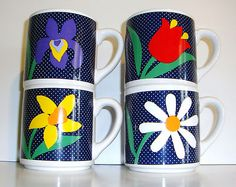 4 Vintage Polka DOT Blue Floral Coffee CUP MUG Retro Kitsch Modern Kitchen Cute | eBay