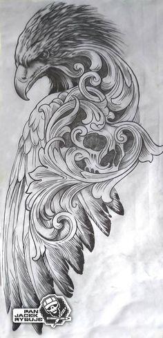 by PanJacekRysuje on DeviantArt Eagle Tattoos, Skull Tattoos, Animal Tattoos, Body Art Tattoos, Sleeve Tattoos, Black Eagle Tattoo, Wing Tattoos, Skull Tattoo Design, Tattoo Design Drawings