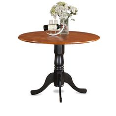 This East West Furniture Dublin Pedestal Round Dining Table with Drop Leaves is perfect for smaller sized kitchens and dining rooms. Crafted of solid. Pedestal Dining Table, Solid Wood Dining Table, Dining Table In Kitchen, Round Dining Table, Kitchen Chairs, Dining Sets, Dining Rooms, Wood Table, Dining Chairs