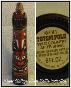 Vintage Avon Totem Pole Wild Country After Shave Cologne Brown Glass Bottle Decanter