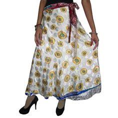Mogulinterior Wrapskirt Vintage Long Silk Sari Revesible White Grey Wrap Around Skirts