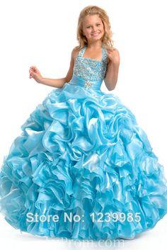 2014 envío gratuito caliente de la venta de organza halter cielo azul con cuentas pick ups niño hermoso desfile vestido de pat...