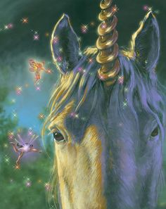 Large Unicorn with Faerie 8x10 print by ThePrancingPonyGifts