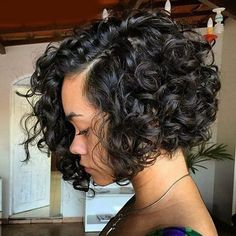 Short full curly bob side part parting natural wavy. black hair styling