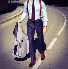 To look like a contemporary gent, opt for a grey wool blazer and navy vertical striped dress pants. Make this ensemble slightly more elegant by finishing with burgundy leather oxford shoes. Sharp Dressed Man, Well Dressed Men, Style Gentleman, Gentleman Fashion, Vertical Striped Dress, Suspenders Outfit, Braces Suspenders, Moda Men, Fashion Models