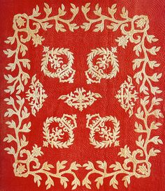 Na Kalaunu Me Ka Lei Maile [Crowns and Maile Lei] Quilt (ca. 1880).  Posted by Marie-Therese Wisniowski at Art Quill