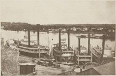 ...Steamboats docked in St Paul, MN, around 1859....this was the limit of navigation due to the Falls of St Anthony...