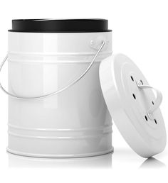 Oversized Gallon Kitchen Compost Bin with EZ-No Lock Lid, Plastic Liner & Charcoal Filters In White & Black - Sturdy Construction & Odor-Free Seal To Prevent Bugs & Smell w/Dishwasher Safe Bucket Compost Container, Compost Bucket, Stainless Steel Bins, Faire Son Compost, Kitchen Compost Bin, Eco Store, Activated Charcoal, Container Gardening