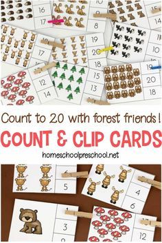 Preschoolers Can Practice Counting To Twenty With These Forest-Themed Count And Clip Cards. A Preschool Counting Printable That Works Fine Motor Skills, Too Via Homeschlprek Numbers Preschool, Free Preschool, Preschool Printables, Preschool Themes, Preschool Learning, Learning Numbers, Learning Tools, Counting Activities For Preschoolers, Numeracy Activities