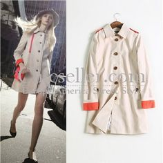 ChicSeller Single Buttons Casual Laple Trench Coat