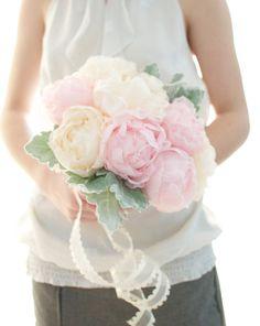 Up cycled handmade fabric flower Peony bouquet, light pink peony, pastel peach peony, wedding bouquet, via Etsy